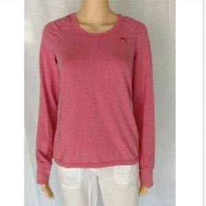 Puma pink long sleeved hooded shirt size M